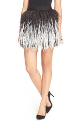 Alice Olivia 'Lauryn' Ostrich Feather Miniskirt Black Cream