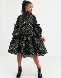 Sister Jane Dream Tiered Volume Midi Smock Dress With Button Front In Floral Jacquard Black