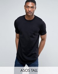 Asos Tall Longline Knitted T Shirt With Curved Hem In Black Black