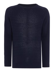 Howick Mabereley Cotton Crew Neck Jumper Navy