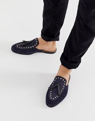 House Of Hounds Helios Slip On Loafers In Navy Suede