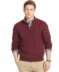 Izod Quarter Zip Cable Sweater Fig