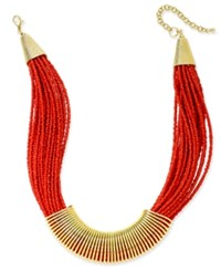 Macy's Gold Tone Chunky Seed Bead Coil Collar Necklace Coral