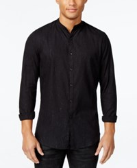 Inc International Concepts Men's Metallic Banded Collar Shirt Only At Macy's Black
