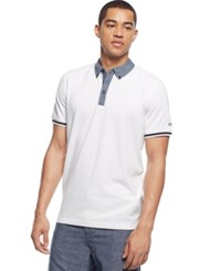 Sean John Classic Chambray Trim Polo Bleach Whi