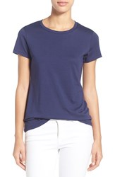 Women's Halogen Short Sleeve Crewneck Tee Navy Peacoat