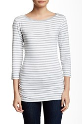 14Th And Union 3 4 Length Sleeve Boatneck Striped Tee Gray