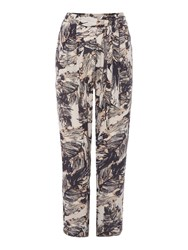 Label Lab Feather Print Crinkle Trousers Multi Coloured