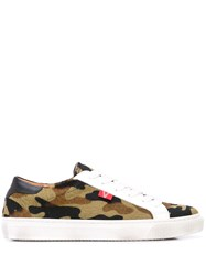 Veronica Beard Camouflage Print Low Top Sneakers Green