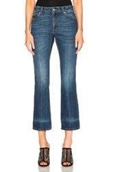 Alexander Mcqueen Crop Flare Denim In Blue