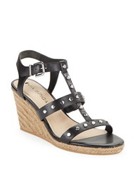 Via Spiga Indya Studded Leather Wedge Sandals Black
