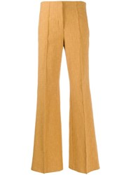 Dorothee Schumacher Textured Flared Trousers Yellow