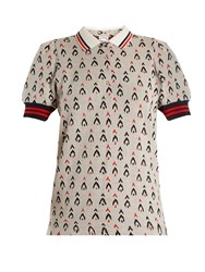 The Upside Becker Witch Mountain Jacquard Cotton Polo Top Grey Multi