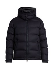 Moncler Montgenevre Quilted Down Wool Flannel Coat Navy