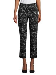 Imnyc Isaac Mizrahi Speckle Print Slim Pants Black White