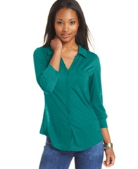 Almost Famous Juniors' Three Quarter Sleeve Shirt Teal