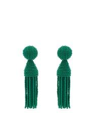 Oscar De La Renta Bead Embellished Tassel Drop Earrings Green