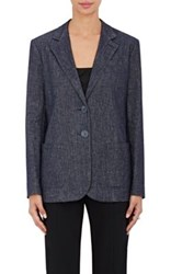 Armani Women's Denim Two Button Jacket Blue Navy Blue Navy