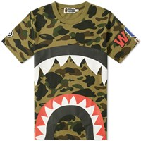 A Bathing Ape 1St Camo Big Shark Tee Green