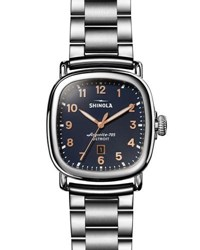 Shinola The Guardian Men's 41.5Mm X 43Mm Polished Stainless Steel Watch With Midnight Blue Dial Silver