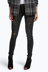 Boohoo Low Rise Distressed Skinny Jeans Black