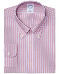 Brooks Brothers Men's Regent Classic Regular Fit Non Iron Red Stripe Supima Cotton Dress Shirt