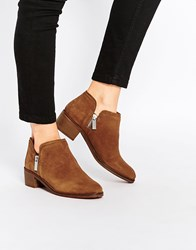 Pull And Bear Pullandbear Zip Detail Ankle Boots Brown