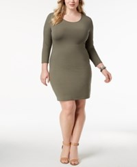 Say What Trendy Plus Size Bodycon Dress Dusty Olive