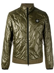 Stone Island Metallic Quilted Jacket Green