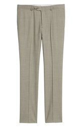 Nordstrom Shop Trim Fit Flat Front Wool Trousers Taupe