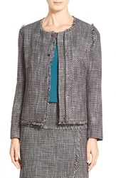 Women's Halogen Zip Front Tweed Jacket Grey Tweed