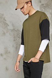 Forever 21 Boxy Contrast Sleeve Pullover Olive Black