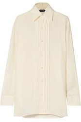 Tom Ford Smocked Twill Shirt Ivory