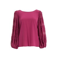 Wtr Pink Balloon Sleeve Silk Blouse Pink Purple