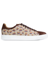 Louis Leeman Stamped Low Top Sneakers Brown