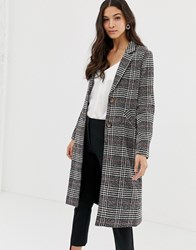 Liquorish Longline Coat In Brushed Check Grey