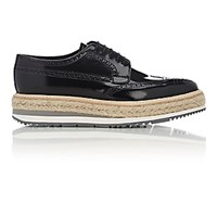 Prada Men's Wingtip Platform Bluchers Black Blue Black Blue