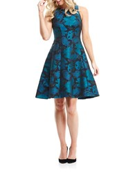 Maggy London Fit And Flare Jewelneck Dress Emerald Blue
