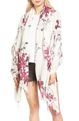 Hinge Women's Floral Print Wrap White Combo