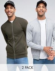 Asos Lightweight Muscle Jersey Bomber Jacket 2 Pack In Khaki Grey Marl Hunter Green Grey Multi