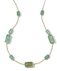Ippolita 18K Gold Rock Candy Gelato 9 Stone Rectangle Necklace Rutilated Quartz Turquoise