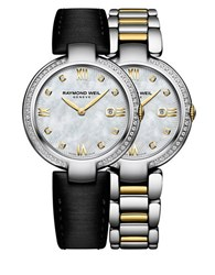 Raymond Weil Shine Diamonds And Gold Pvd Plated Stainless Steel Watch And Interchangeable Straps Set Two Tone