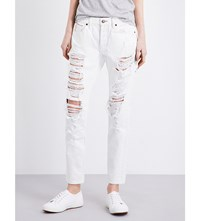 Tortoise Denim Embroidered Straight Mid Rise Jeans Wht W Embroidery