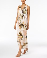 Sangria Chiffon Floral Faux Wrap Maxi Dress Honeysuckle