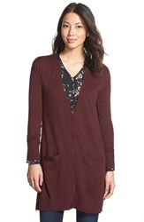 Petite Women's Halogen Side Zip Long V Neck Cardigan