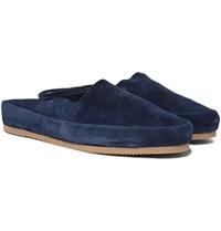 Mulo Suede Backless Loafers Blue
