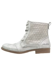 Mustang Laceup Boots Silber Light Grey