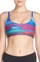 Women's Onzie Elastic Back Graphic Sports Bra White Sands Royal