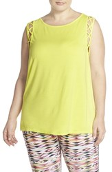 Plus Size Women's Pink Lotus 'Tied Off' Muscle Tee Laser Lemon