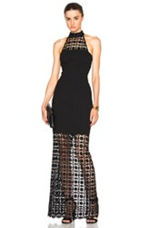 Nicholas Mosaic Lace Halter Maxi Dress In Black
